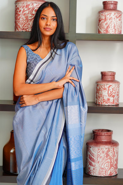 Urban Drape Blue Crystals Saree