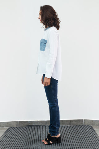 White Shirt with washed denim patch pocket
