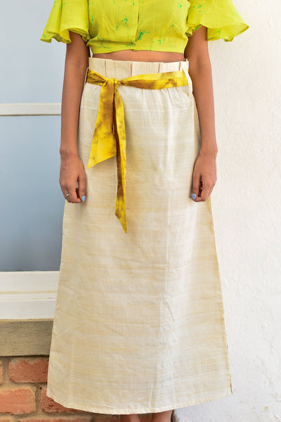 Raw Silk Skirt With Pleated Waistband