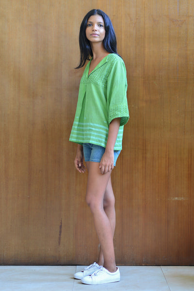 Handwoven Green Tunic With Wide Sleeves