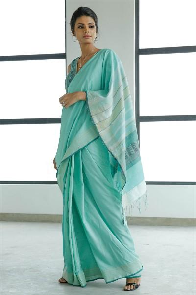Urban Drape Melange - Cool Aqua Shadows Saree