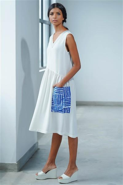 Asymmetric Waist, White Motif Midi Dress