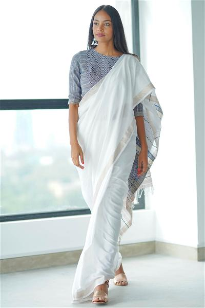 Urban Drape Blue Temple Saree