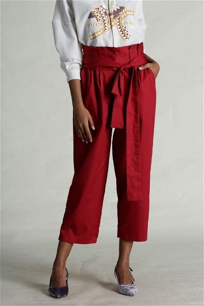 Red Paper Bag Waist Pants