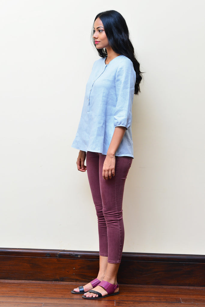 Light Blue Linen Top