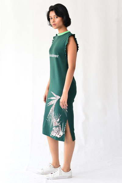 Leopard Foliate Frill Dress