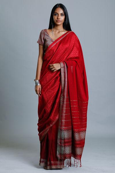 Urban Drape Red Fair View Saree