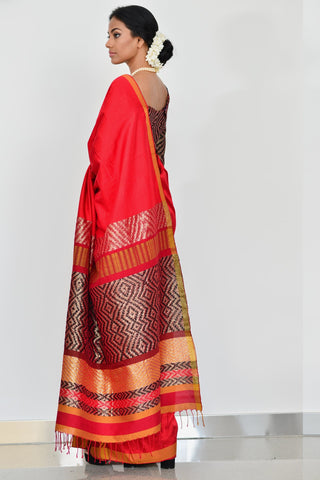 Urban Drape Cherry Wood Saree
