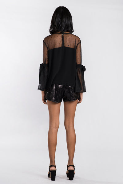 Rose Embroidered Black Tulle Top