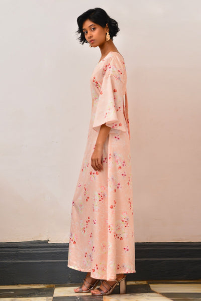 Cherry Blossom Back Self Tie-Up Maxi Dress