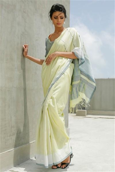 Urban Drape Melange - Lemon Yellow Spark Saree