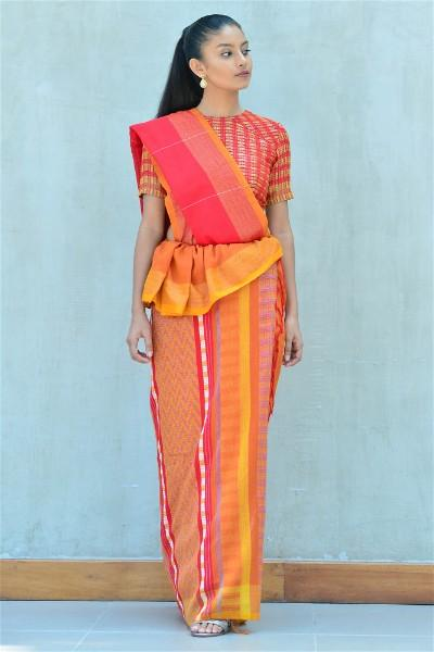 Urban Drape Red Lava Saree