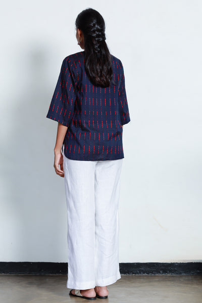 Hand Woven Tunic Top - Blue