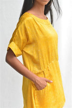 Load image into Gallery viewer, Summer Yellow Silk Batik Tunic Top