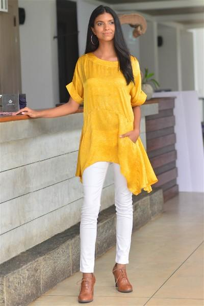 Summer Yellow Silk Batik Tunic Top