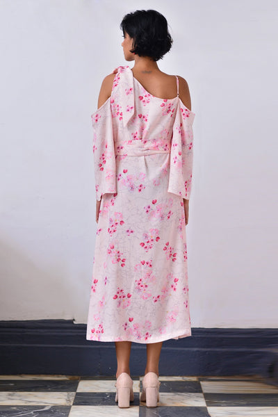 Cherry Blossom Side Bow Tie-Up Dress