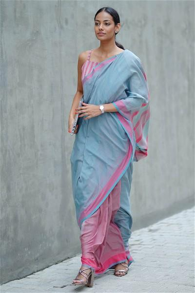 Urban Drape Moss Green Saree