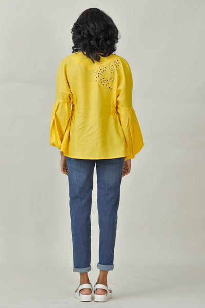 On Cloud 9 Embroidered Puff Sleeve Top V1
