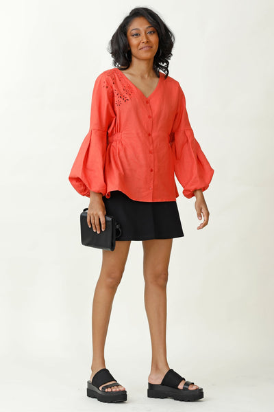 On Cloud 9 Embroidered Puff Sleeve Top V3