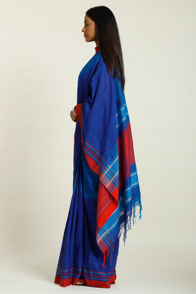Urban Drape Blue Velvet  Saree