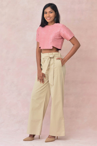 Pink Textured Hand Woven Crop Blouse