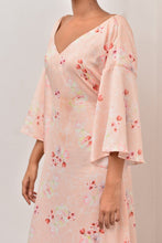 Load image into Gallery viewer, Cherry Blossom Back Self Tie-Up Maxi Dress