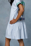 Serin Blue Dropped Waist Dress