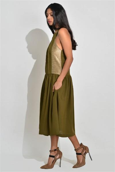 A Line Sleeveless Moss Dress