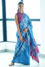 Load image into Gallery viewer, Urban Drape Marble Denim Saree