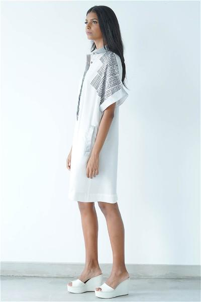 Oversized White Shirt Dress with Jacquard Collar