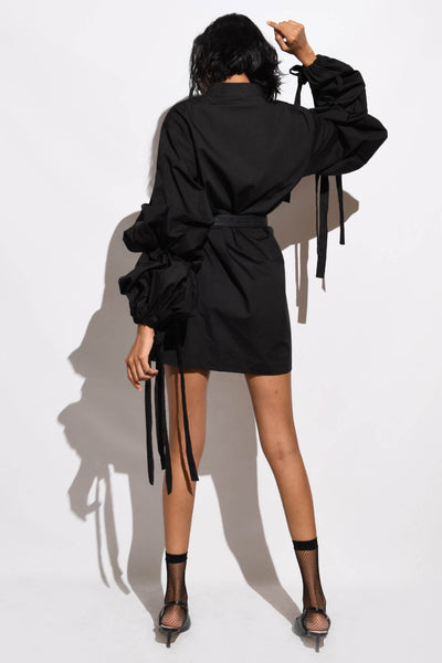 Dress with Balloon Sleeves & Ties- black