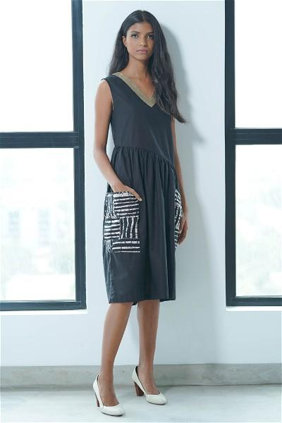 Asymmetric Waist, Black Motif Midi Dress