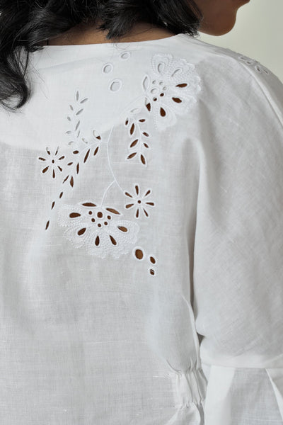 On Cloud 9 Embroidered Puff Sleeve Top