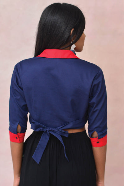 Blue Shirt Crop Blouse