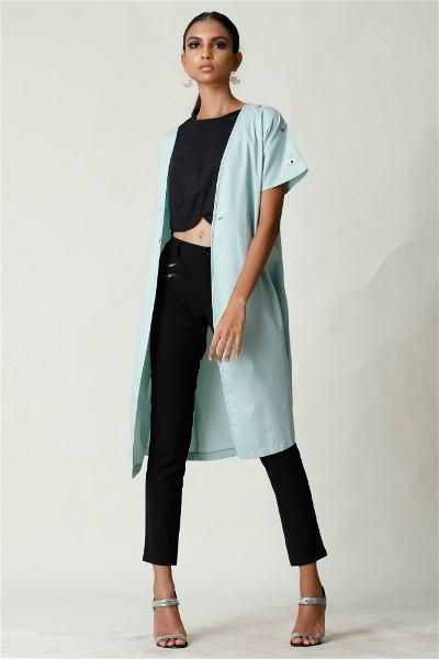Aqua Embroided Cardigan Dress