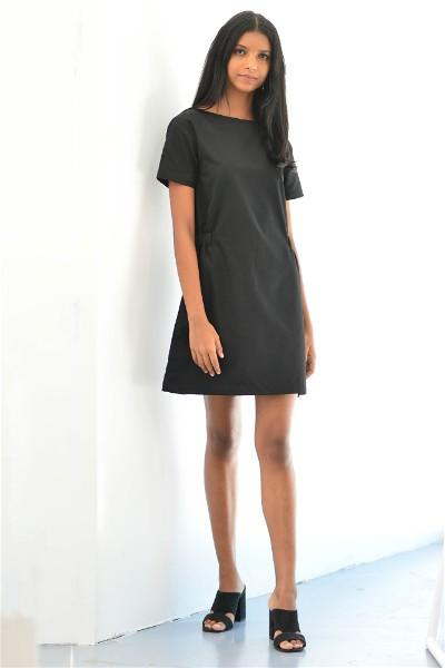 Black Gather Dress