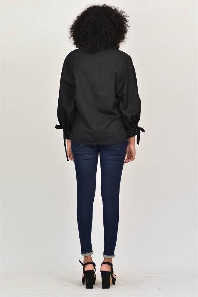 Black Puff Sleeve Shirt