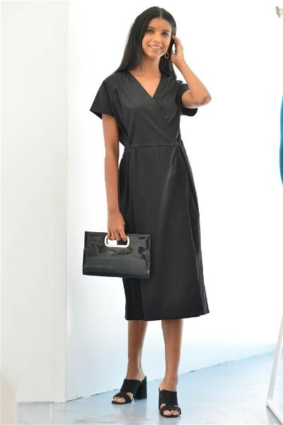 Black Wrap Pleat Dress