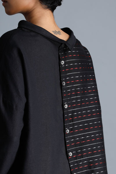 Boat Neck Shirt with Handloom Panel