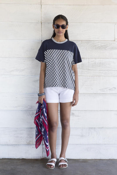 Nautical T-shirt- blue stripe with block blue