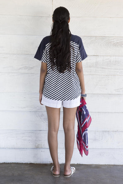 Nautical T-shirt- Blue Stripe with Block Blue Print