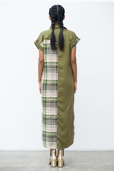Contrast Panel check shirt dress