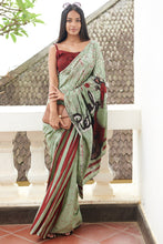 Load image into Gallery viewer, Urban Drape Teal Scooter Batik Saree