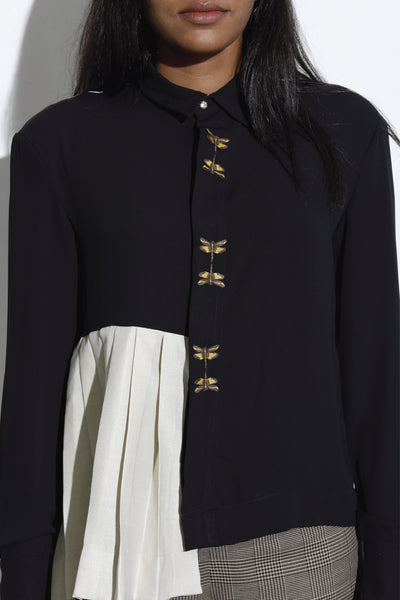 Dragonfly Embroidery Work Shirt - Black