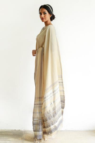 Urban Drape Etowah Cream Silk Mixed Saree