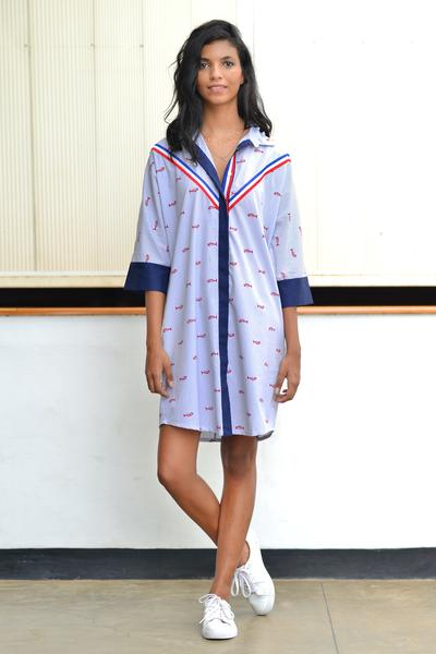 Fish Print Shirt Dress with Twill Tape Detail