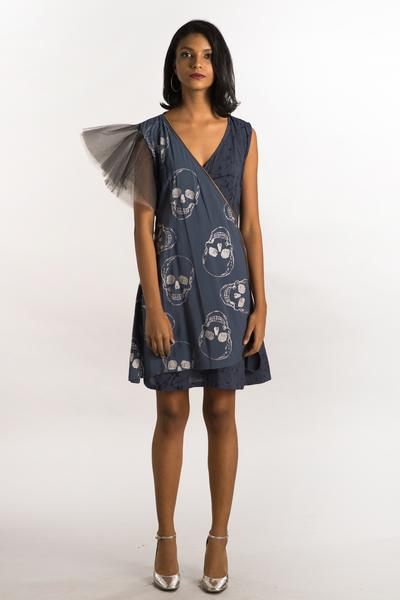 Foil Skull Printed Gray Wrap Dress