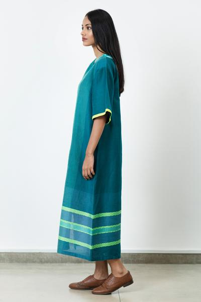 Green Handwoven Long Tunic Dress