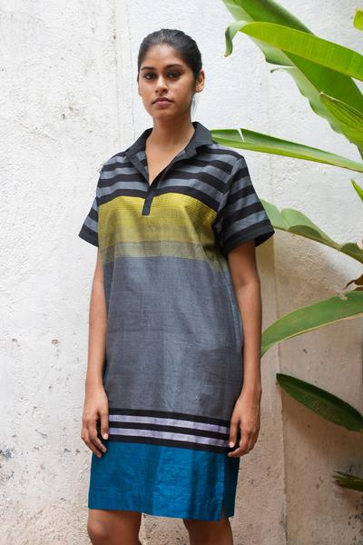 Handloom Polo Shirt Dress