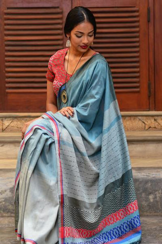Grey Mask Batik Saree